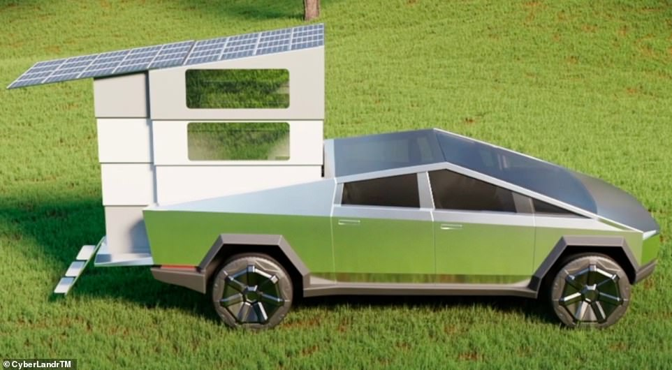 Pictured: Incredible £36,000 attachment that turns the Tesla Cybertruck into a mini home on wheels