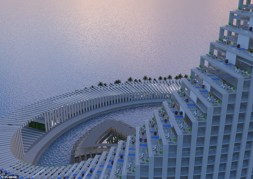 Pictured: The incredible 'Domino Tower' island that will be built off the coast of Zanzibar